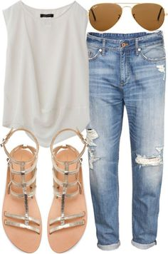 boyfriend jeans, white tank, metallic sandals, aviators