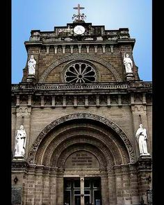 Exterior, shows semi-circular arches Romanesque Architecture, Architecture Details, Quezon City, Matte Painting, Architectural Elements, Arches, Rome, Cathedral, Medieval
