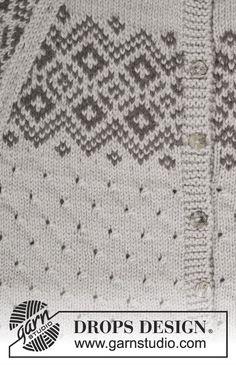 Chaqueta de punto DROPS con patrón de calados, patrón de jacquard nórdico y raglán, en Lima. Talla: S – XXXL. Patrón gratuito de DROPS Design.
