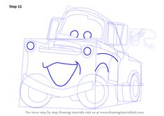 Learn How to Draw Tow Mater from Cars (Cars) Step by Step : Drawing Tutorials Cartoon Car Drawing, Cartoon Head, Car Drawings, Easy Drawing Steps, Step By Step Drawing, Learn Drawing, Learn To Draw, Projects For Kids, Art Projects