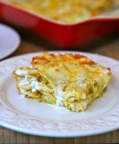 Green Chili and Chicken Lasagna with Cacique Mozzarella, Queso Quesadilla Jalapeno and Crema Mexicana