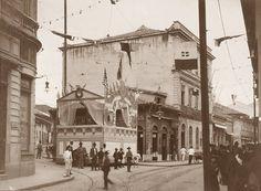 1908 - Rua Direita com a rua José Bonifácio, na região da Sé.