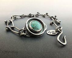 Silver Bracelet Turquoise Bracelet Turquoise Jewelry by LjBjewelry