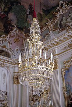 Chandelier in Nymphenberg Palace, Munich, Germany