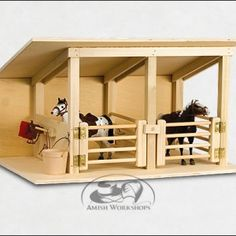Amish Toy Horse Stable handcrafted Amish farm toy collection Solid untreated ash traditional old fashioned handmade – Handwerk und Basteln Toy Horse Stable, Horse Stables, Horse Barns, Horses, Horse Shelter, Wooden Toy Barn, Wooden Horse, Amish Farm, Farm Toys