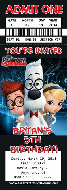 Mr. Peabody and Sherman Movie Tickets $8.99