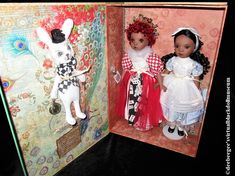 Queen of Hearts, Alice in Wonderland, and the White Rabbit – DeeBeeGee's Virtual Black Doll Museum™ Red And Pink, Red And White, Black, Queen Of Hearts Alice, Doll Museum, Red Wigs, Heart Painting, Check Fabric, Doll Stands