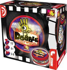 #Dobble Hollywood, ce sont 57 symboles liés au monde du cinéma, 55 cartes, 8 symboles par carte et un seul symbole en commun entre chaque carte.  Votre objectif : repérer le symbole avant les autres ! #jeudesociété