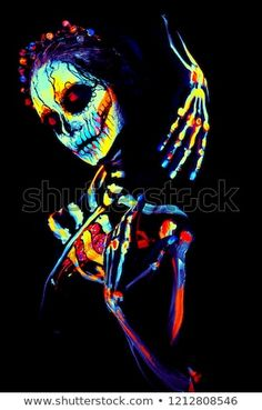 UV body art painting of helloween female skeleton – Body Painting Female Skeleton, Skeleton Art, Uv Makeup, Helloween Party, Body Art Photography, Skull Wallpaper, Lock Screen Wallpaper Iphone, Painting Lessons, Stock Foto