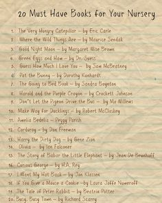 20 Must Have Books for Your Nursery