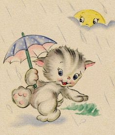 whimsical cat in the rain with the sun peeking through.