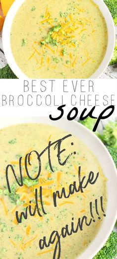 This Broccoli cheese soup is wonderful! Not super thick which we liked. Best Dinner Recipes, Healthy Soup Recipes, Entree Recipes, Quick Recipes, Vegan Recipes Easy, Chili Recipes, Healthy Food, Yummy Food, Easy Cooking