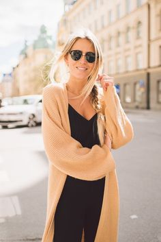 camel cardigan and all black outfit for a casual chic outfit