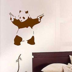 Goedkope grote banksy panda kunst aan de muur muurschildering stencil sticker overschrijving vinyl sticker 55*55cm behang muurschildering, koop Kwaliteit muurstickers rechtstreeks van Leveranciers van China: