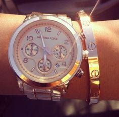 Michael Kors and Cartier bracelet stack | tumblr