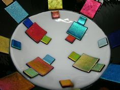 Fused Glass Bowl, Dichroic Glass, Mosaic Glass, Glass Fusing Projects, Glass Wall Art, Craft Supplies, Rainbow, Mosaics, Etsy