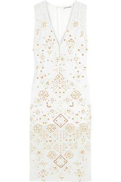 Altuzarra Pamplona embellished silk chiffon-paneled broderie anglaise cotton and silk blend dress