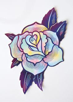 Large Psychedelic Tattoo Rose Sticker #tattoos #RoseTattooIdeas #TattooIdeasDibujos