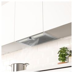 UNDERVERK Built-in extractor hood, stainless steel. A powerful hood hidden in the cabinet ‒ you just choose a door you like to get a uniform look in the kitchen. A LED lighting strip gives even work lighting ‒ making cooking more comfortable. Kitchen Extractor, Extractor Hood, Kitchen Cabinet Doors, Kitchen Cabinets, Flexible Pipe, Energy Consumption, Save Energy, Small Spaces, Occult