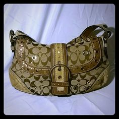 SALEHost Pick Coach Shoulder Bag Never used. Studded tan with leather trim and suede corners Coach Bags Shoulder Bags