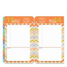 Compact Retro Pop Ring-bound Daily Planner Refill - Jan 2014 - Dec 2014