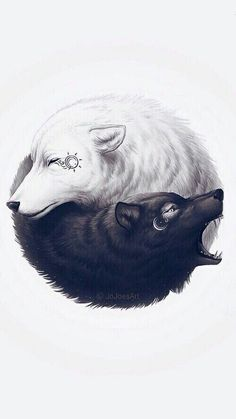 Yin yang Strength Good and bad Moon and soul So meaningful... So deep #wolftattoo #tattoodesign #strenghtsymbol #yinyang