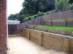 Decking with softwood sleeper retaining walls.
