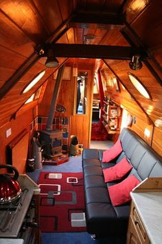 Barge Boat, Canal Barge, Barge Interior, Interior And Exterior, Canal Boat Interior, Boat Pics, Narrowboat Interiors, Shanty Boat, Dutch Barge
