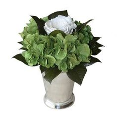 "Preserved floral arrangement in a metallic julep cup.Product: Preserved arrangementConstruction Material: Hydrangea, roses and metalColor: WhiteFeatures: Includes preserved hydrangeas and rosesDimensions: 8"" H x 8"" Diameter"