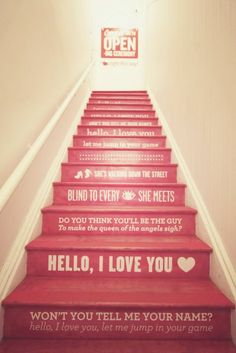 To know more about Opening Ceremony NYC staircase, visit Sumally, a social network that gathers together all the wanted things in the world! Featuring over 1 other Opening Ceremony NYC items too! Opening Ceremony Nyc, Friday Im In Love, Cherry Blossom Girl, Escalier Design, Do It Yourself Inspiration, Song Inspiration, Hello My Love, Stair Risers, Stair Steps