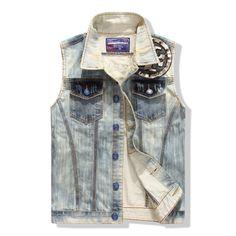 Envío gratis! nuevo 2015 moda para hombre light blue denim chaleco de hombre medalla de denim patchwork lavado con agua para hombre chaleco de mezclilla ocasional(China (Mainland))