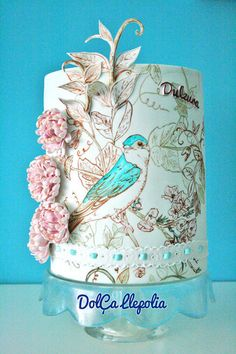 Community Post: 22 Gorgeously Hand Painted Cakes That You Need To Have At Your Wedding Gorgeous Cakes, Pretty Cakes, Cute Cakes, Gorgeous Gorgeous, Unique Cakes, Creative Cakes, Elegant Cakes, Painted Wedding Cake, Amazing Wedding Cakes
