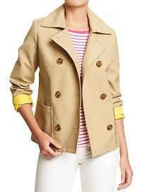 Women's Double-Breasted Canvas Raincoats