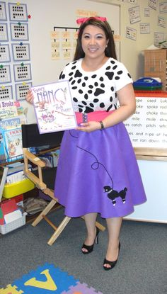 """My Fancy Nancy outfit (from """"Fancy Nancy and the Posh Puppy"""") for a National Reading Day activity at school."""