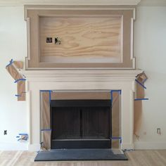 Amy Meier Design, tv mantel in progress  Photo by amymeierdesign @Michelle Flynn Parsley.