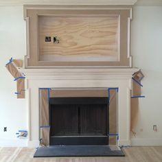 Amy Meier Design, tv mantel in progress  Photo by amymeierdesign @Michelle Flynn Flynn Flynn Parsley.