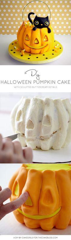 DIY Halloween Cake - how to carve a Pumpkin Cake with buttercream frosting | by Cakegirls for TheCakeBlog.com