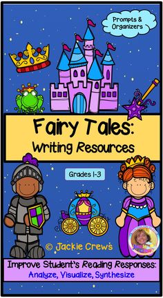 This 40 page product will provide your fairy tale unit with character studies, sequence, cause/effect, visualization, summaries, labeling, and more. #Jackiecrews, #fairytales, #grade1, #grade2. #grade3, #literacyfun, #writingresources, #fairytalewriting, #analyze, #visualize, #synthesize, #literacycenters,