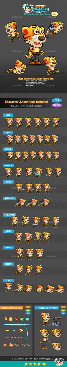 Tiger Warrior 2 Game Character Sprites 206 - Download: http://graphicriver.net/item/tiger-warrior-2-game-character-sprites-206/15440717?ref=sinzo #Sprites #Game #Assets
