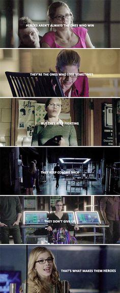 """""""She's a hero in her own way"""" - Emily Bett ~ Arrow Felicity Smoak is a hero!!!"""