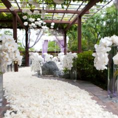 White Wedding Ceremony with White flowers