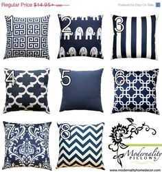 SALE Nautical Pillows- Premier Prints Navy Blue Pillow Cover- All Sizes- Zippered Pillow- You Choose- Cushion Cover- Beach Decor Accent by Modernality2 on Etsy https://www.etsy.com/listing/95201588/sale-nautical-pillows-premier-prints