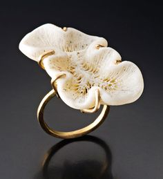 Ring | Peg Fetter.   14k gold, found coral