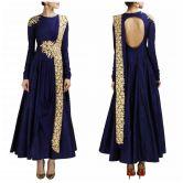 Fabron Navy Blue Designer Embroidered Dress For Women