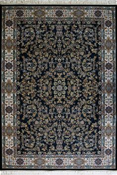 """PersicoTraditional Medallion Rugs  80212 D Blue This beguiling design has us """"BLUSHING"""" with excitement.   Our Persico rug is inspired by 'Persepolis' and the rich cultural heritage of Persians. It's power loomed at 3,000,000 points per sqm (so extremely dense) with hand knotted fringes this exquisite product is the highest and finest quality woven rug we've ever had."""