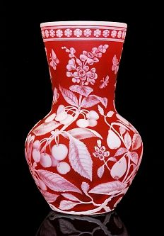 A large late 19th Century Richardsons cameo glass vase