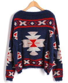 Navy Ethnic Style Print Cropped Sweater with Batwing Sleeves - $48  A bit pricey, but so adorable.