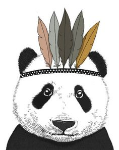 MiniMel Indian Panda A2 Print