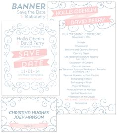 Banner Save the Date and Stationery | by The Green Kangaroo, Inc.