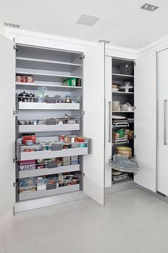 Internal storage drawers and tall Le Mans carousels from the Infinity range Kitchen Larder, Kitchen Pantry Design, Kitchen Organization Pantry, Kitchen Cupboards, Modern Kitchen Design, Interior Design Kitchen, Kitchen Storage, Living Room Kitchen, Home Decor Kitchen